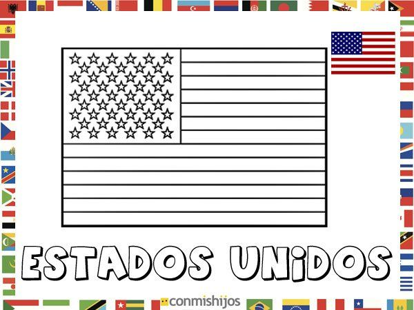 Culturas Del Mundo Para Colorear: Bandera De Estados Unidos. Dibujos De Banderas Para Pintar
