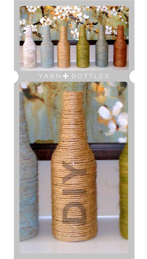 Diy Yarn Wrapped Bottles Yarn Bottles Bottle Crafts Diy Bottle