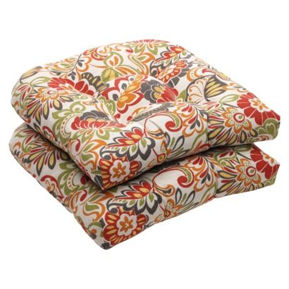 Outdoor 2 Piece Wicker Chair Cushion Set Green Off White Red Fl