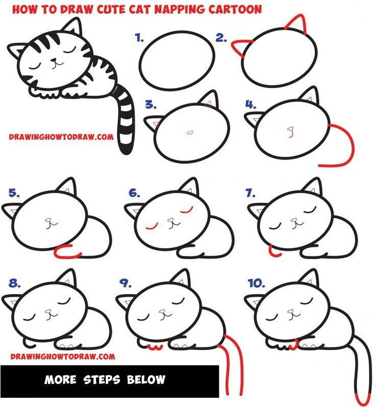 How to Draw a Supercute Kawaii / Cartoon Cat / Kitten Napping Easy Step by Step Drawing Tutorial for Kids - How to Draw Step by Step Drawing Tutorials