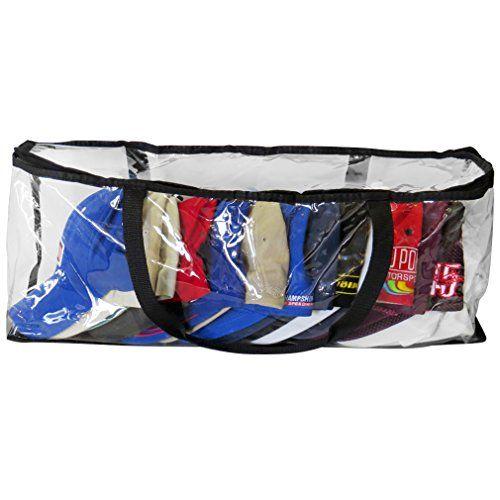 Evelots Baseball Cap Storage Bag Zipper Organizer Clear Plastic W Black Handles Baseball Caps Storage Bag Storage Black Handle