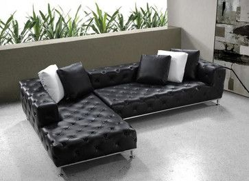 Elegant Tufted Full Leather Corner Couch - contemporary ...