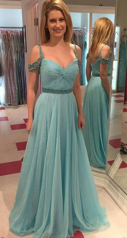 Teal Floor Length Prom Dresses
