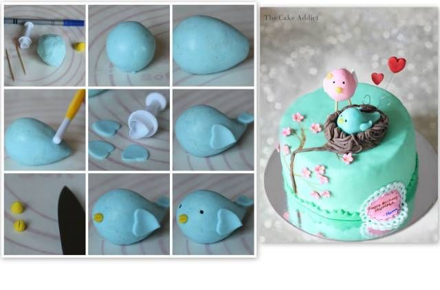 Easy Fondant Bird Topper Cakesdecor With Images Easy Fondant