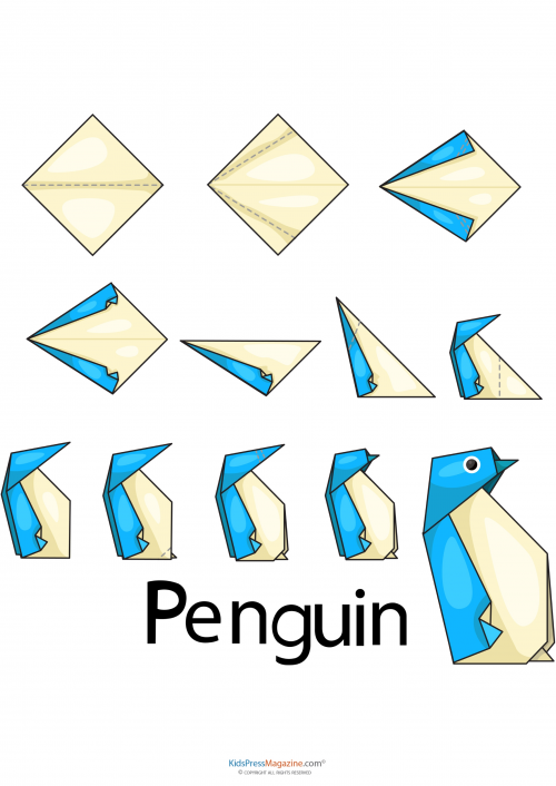 easy origami penguin origami template and activities. Black Bedroom Furniture Sets. Home Design Ideas