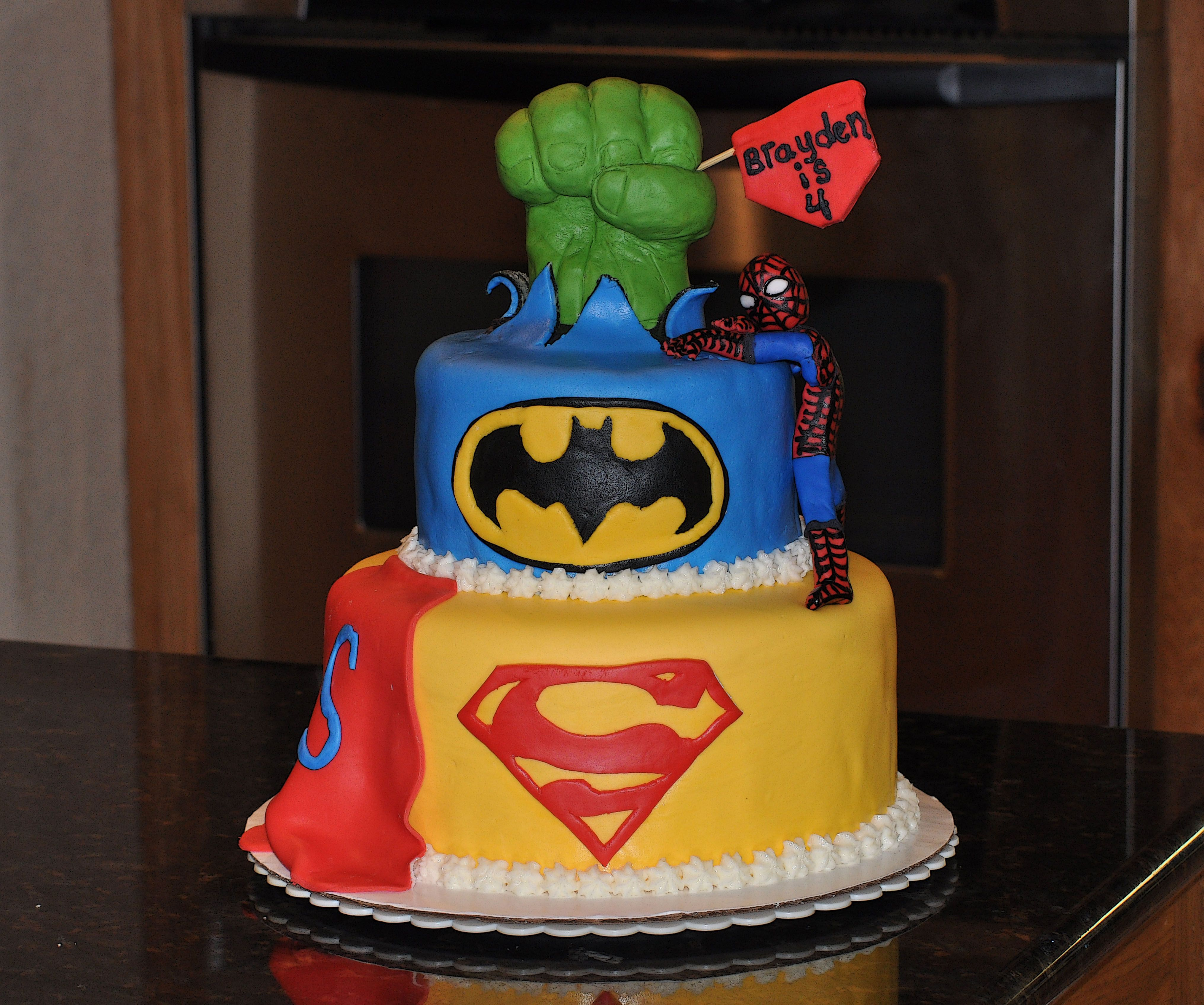 Excellent Super Hero Birthday Cake 2 Tiered Cake Double Layers Coated Birthday Cards Printable Riciscafe Filternl