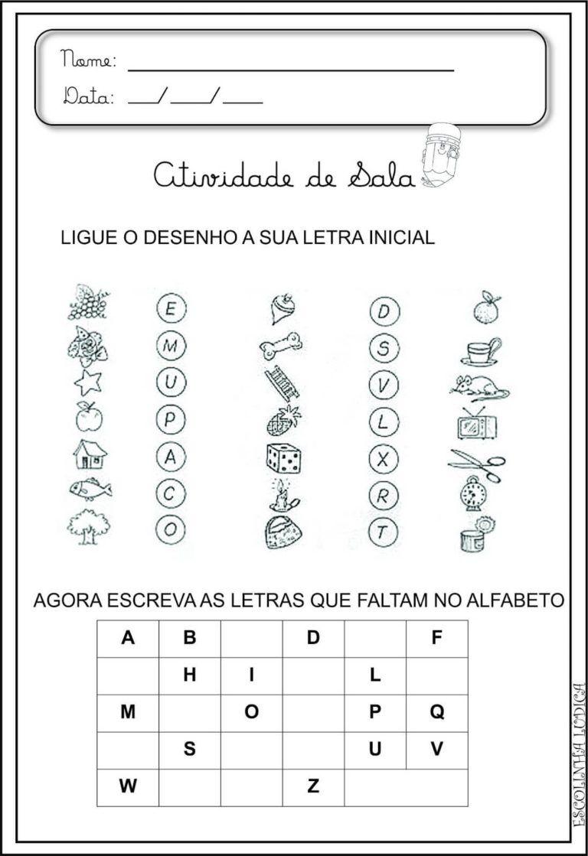 Atividades De Alfabetizacao Infantil Com Letras Alfabetizacao