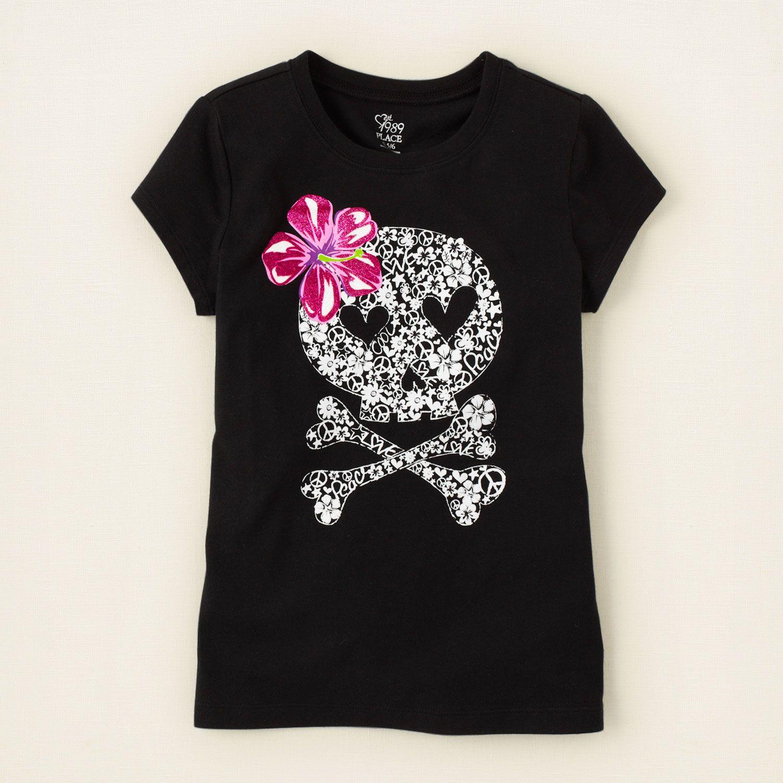 girl - graphic tees - flowery skull graphic tee  4e21e7f1042