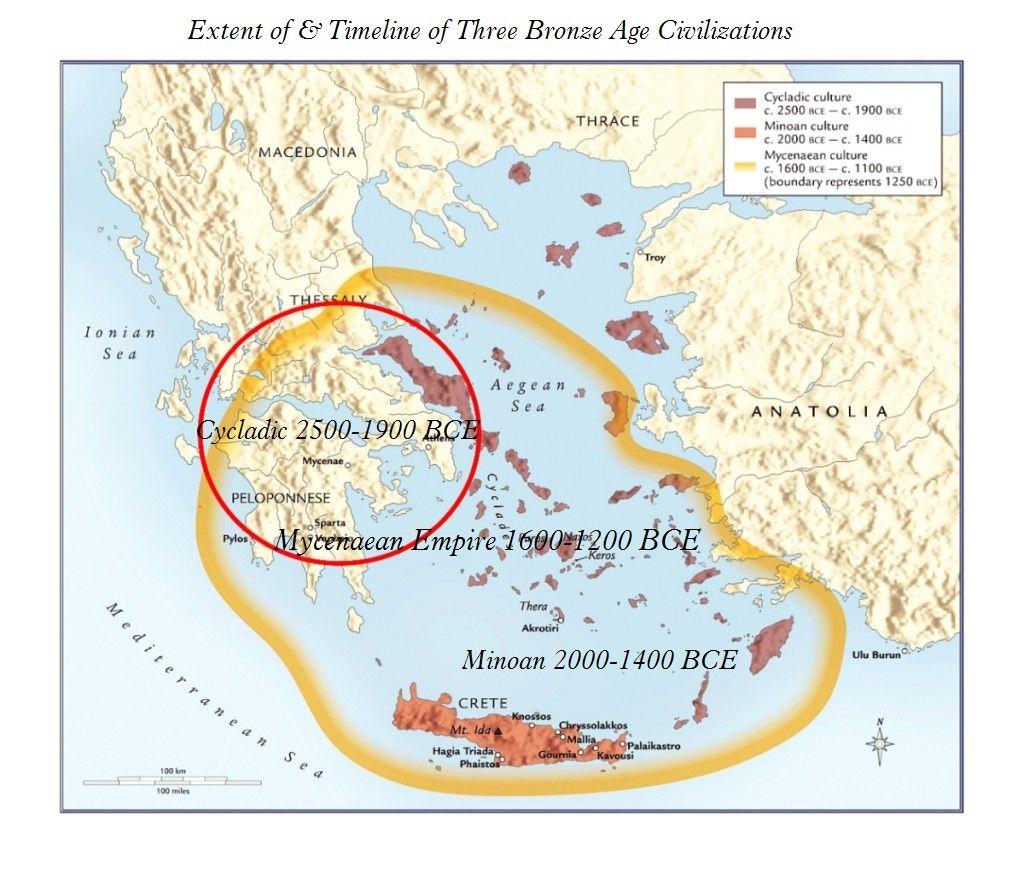 Map Of Cycladic Minoan Mycenaean Cultures Mycenaean Minoan Map