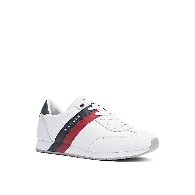 Signature Stripe Leather Trainers - Sales Up to -50% Tommy Hilfiger lnwhk77stJ