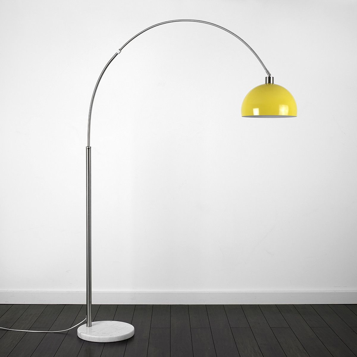 Curved Floor Lamp With White Marble Base Yellow Shade Arched