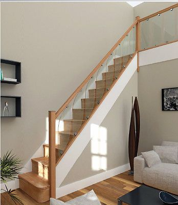 Best Details About Glass Staircase Balustrade Kit Glass Oak 400 x 300