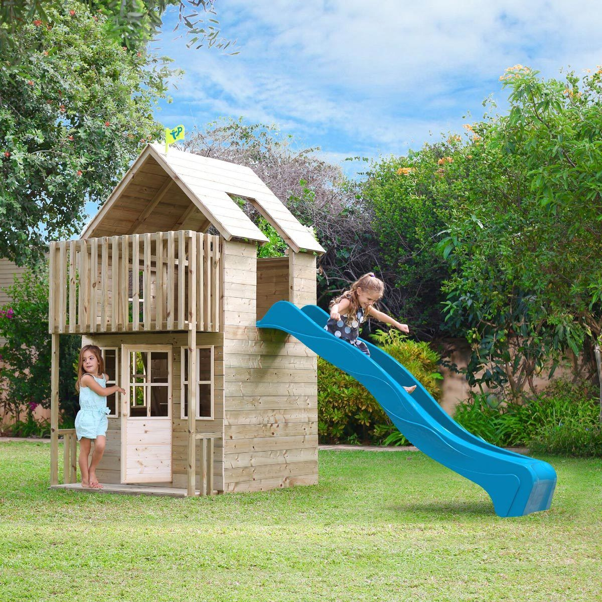 TP Skye Two Storey Wooden Playhouse and Slide (3+ years