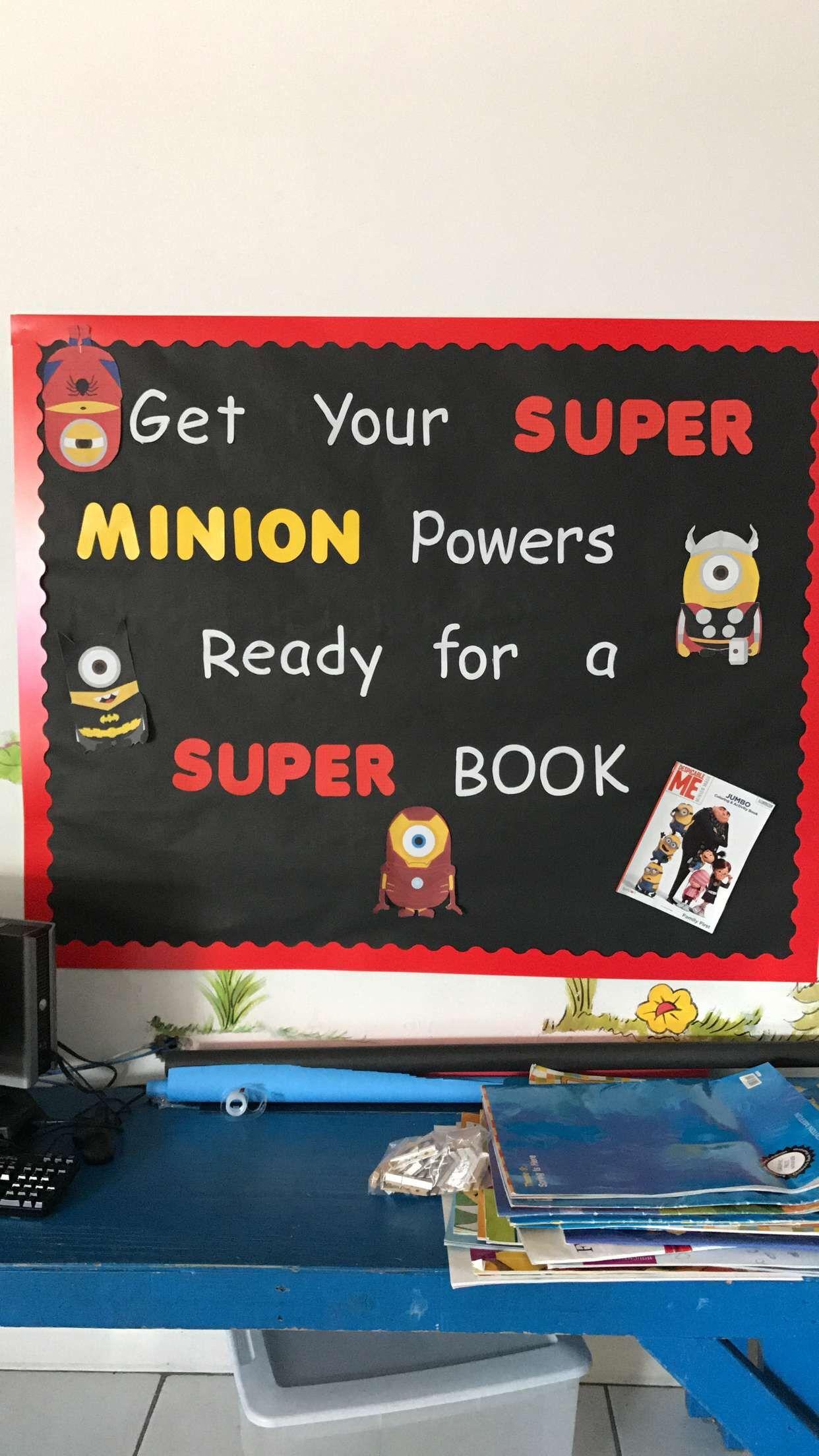 Minion Classroom Bulletin Board Reading Superhero Library
