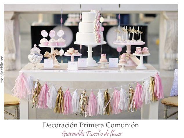 decoracion primera comunion con pompones
