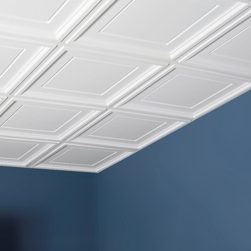 Icon Coffer 2 Ft X Pvc Drop In Ceiling Tile White
