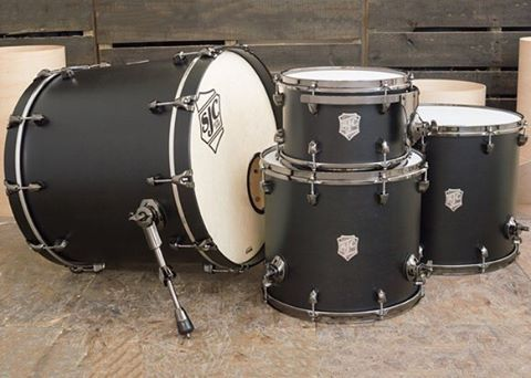 @indigo.blood 8x12, 14x16, 16x18, 18x22 matte black satin stain maple kit w/ black nickel hardware! #sjcdrums #mysjc #sjcfamily