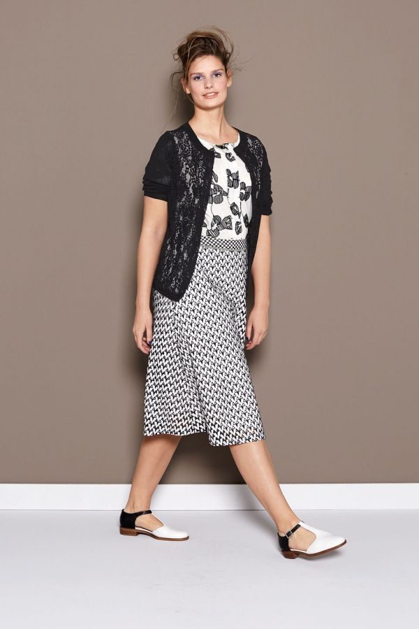 A-lijn rok met opengewerkt patroon Wit