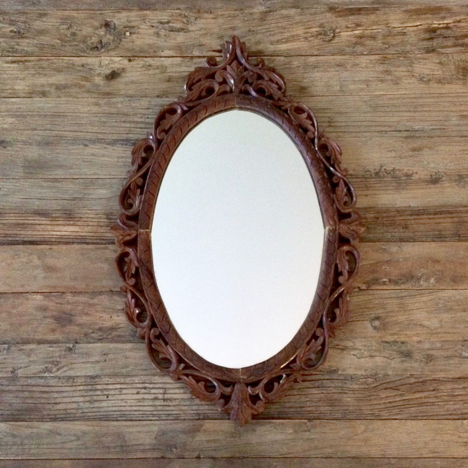 Carved Wooden Oval Mirror / India wooden mirror | Oval ...