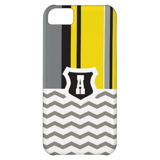 Cubierta para iPhone 5 Gray & Yellow Lines
