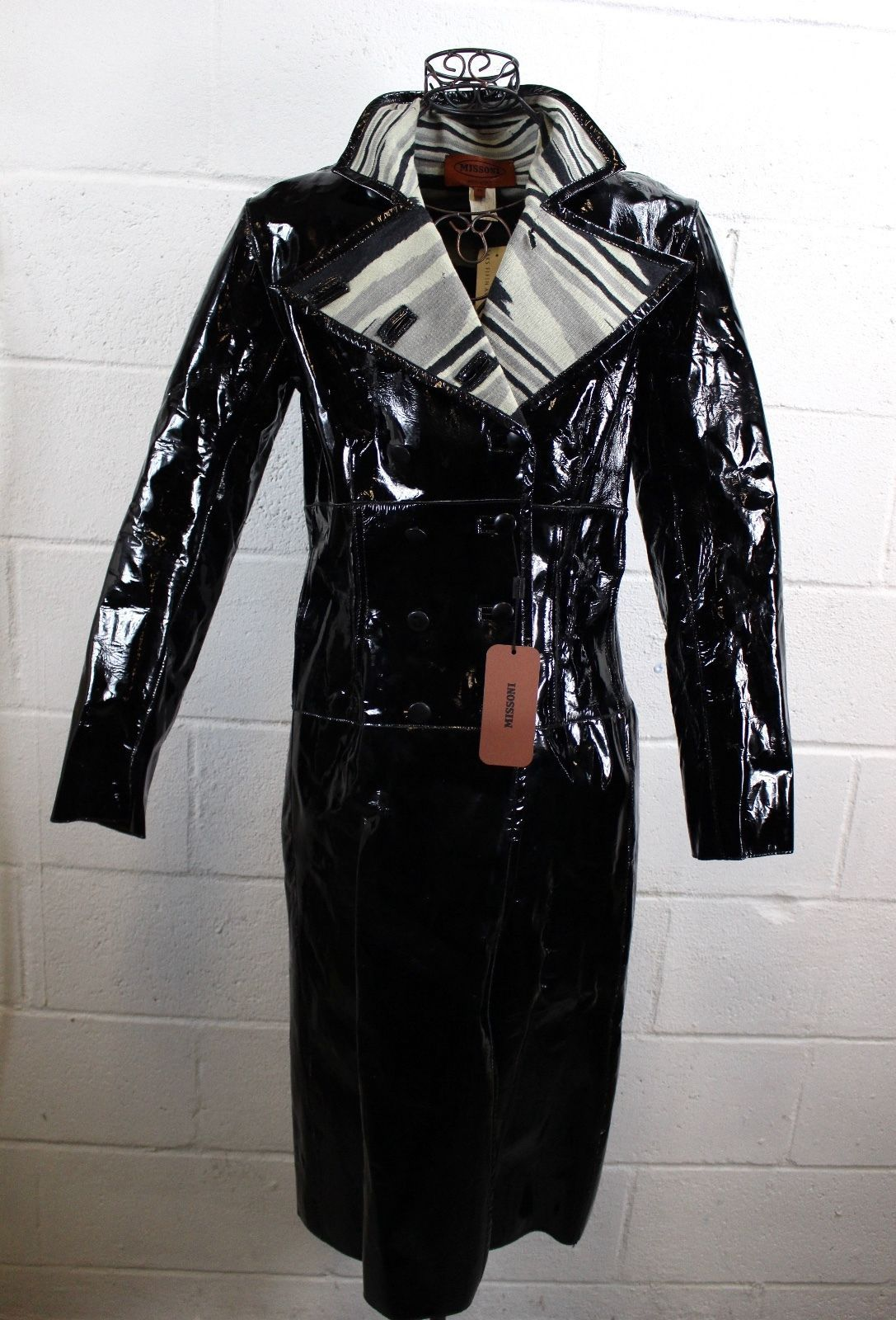 Missoni Roulette Cappotto black patent leather double breasted full calf long length trench coat jacket. Vented mesh slit insert detail. Inner Missoni stripe abstract knit print lining. Moth holes on collar lining as shown. | eBay!