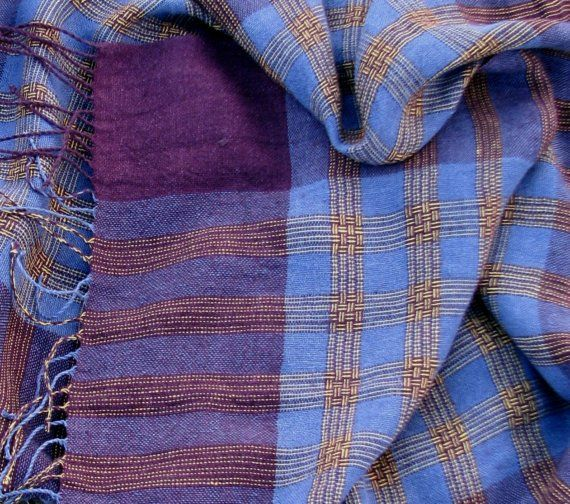 Handwoven Linen Flax Scarf Shawl Purple Chess by AMIZANTI on Etsy, $105.00