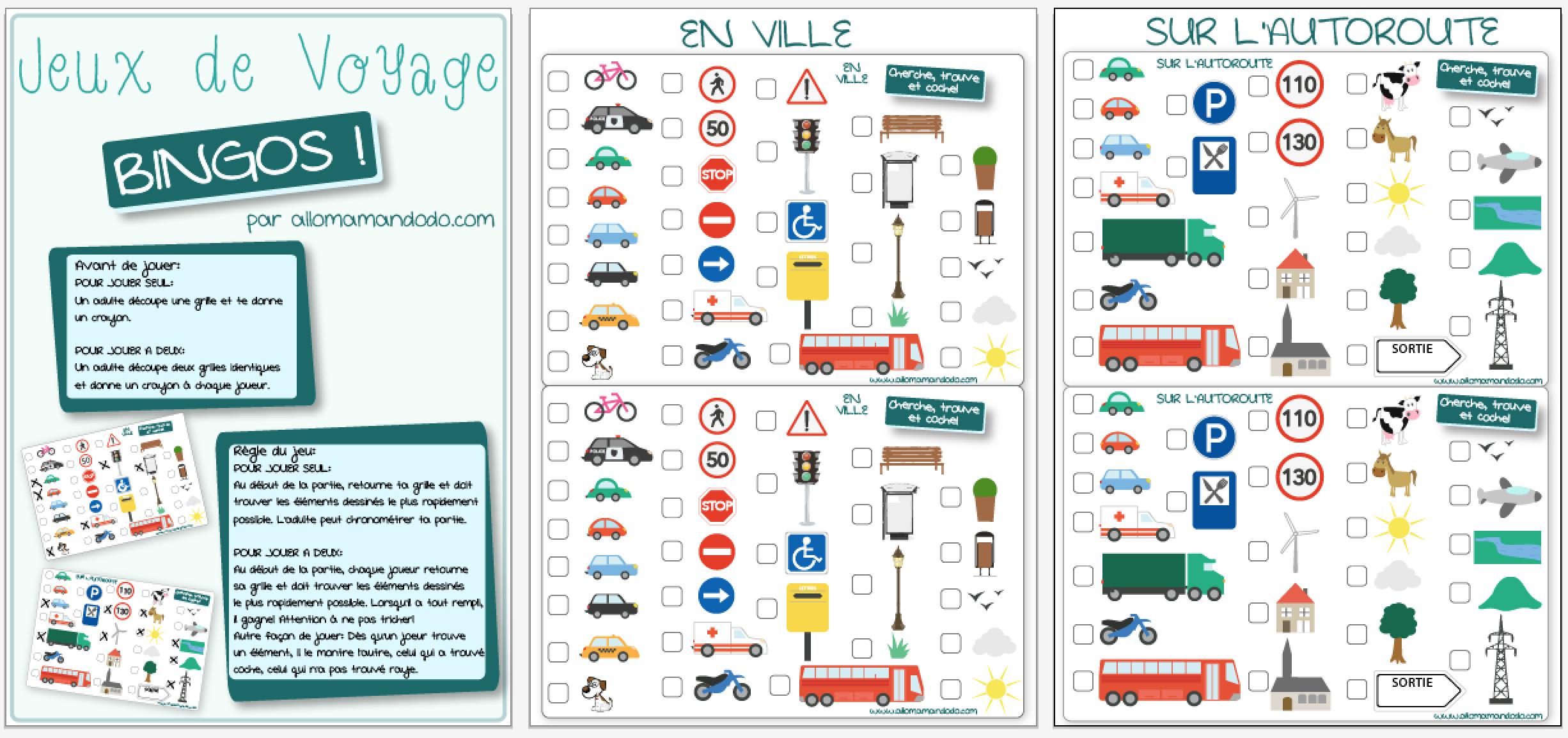 les occuper en voiture jeux de voyage bingo de la route. Black Bedroom Furniture Sets. Home Design Ideas