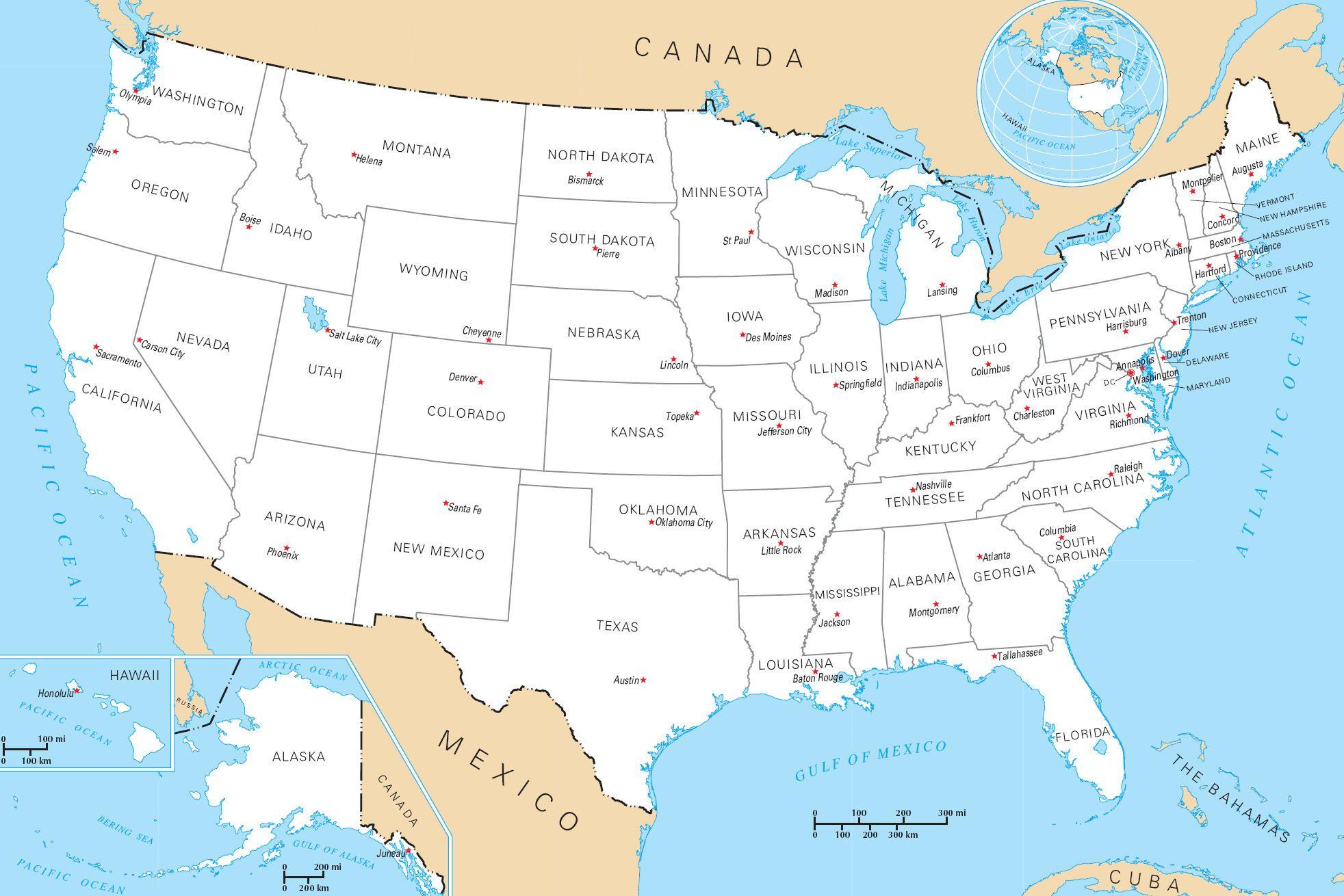 Carte Capitales Usa Etats Unis Carte Etats Unis Geographie