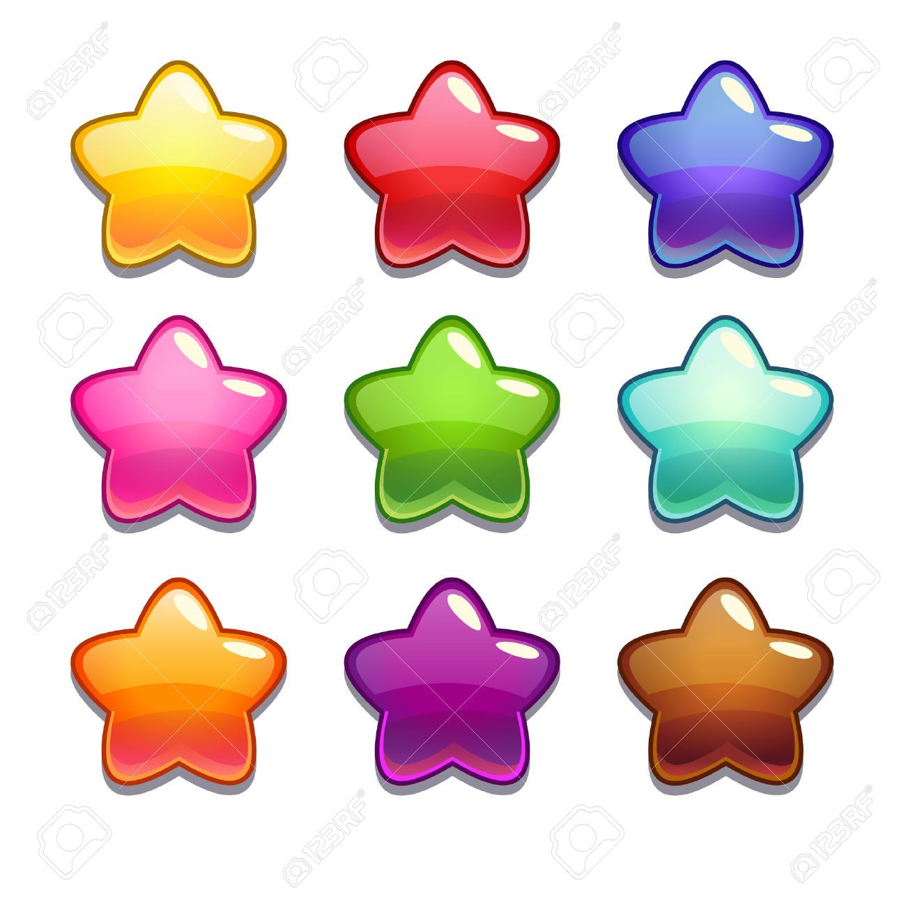 Cute Cartoon Jelly Stars In Different Colors Isolated Vector Cute Cartoon Cartoon Heart Cute Drawings