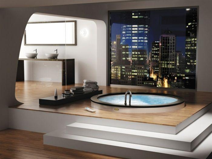 Modernes Design Im Bad Mit Fototapete Und Eingelassenem Whirlpool