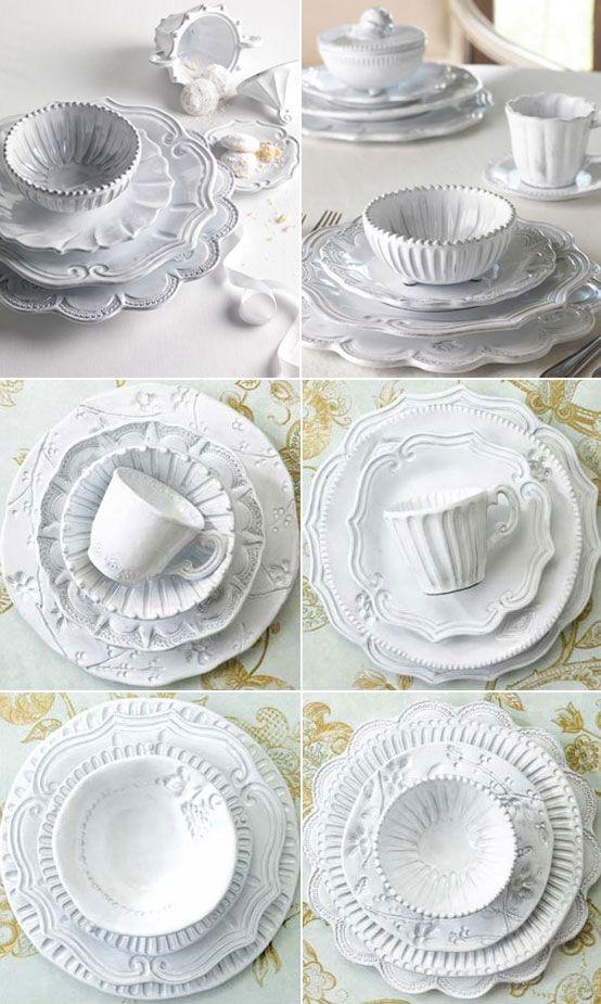 VIETRI Italian Ceramics Incanto White Dinnerware  \ De Medici dots baroque curves antique Venetian lace \u0026 the waves of the Adriatic Sea combine to ...  sc 1 st  Pinterest & VIETRI Italian Ceramics Incanto White Dinnerware :: \