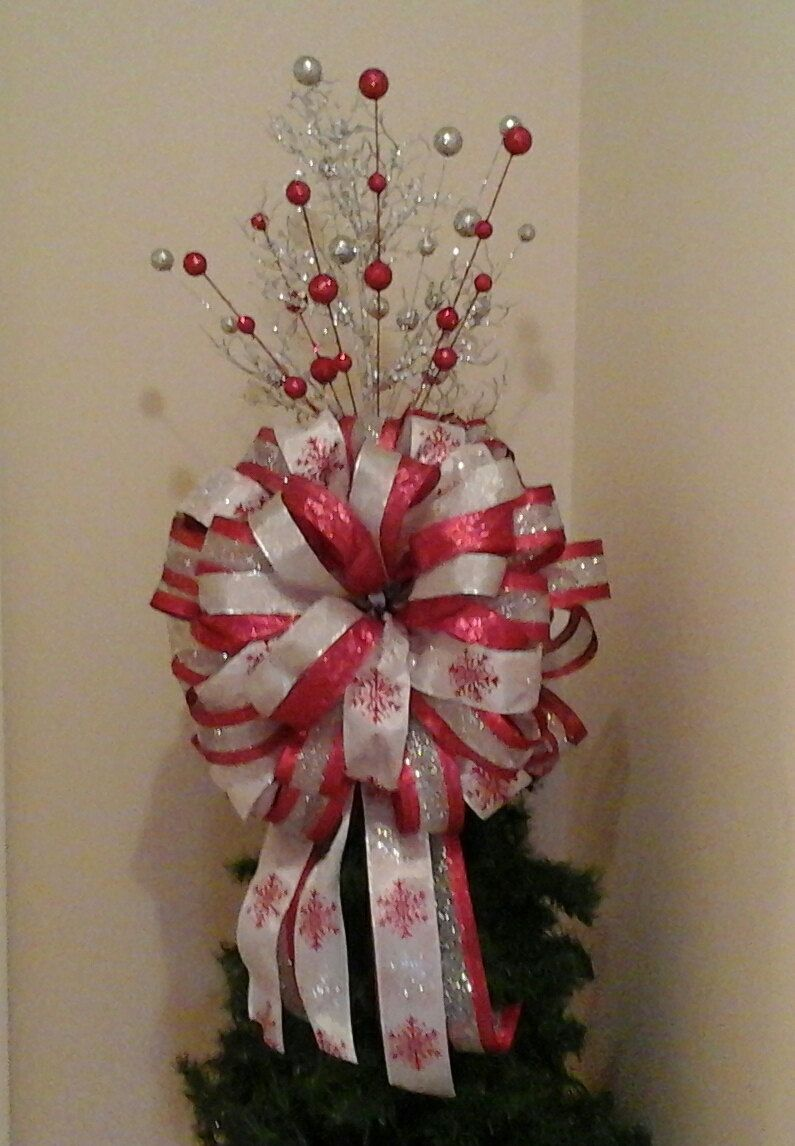christmas tree topper deluxe large luxury christmas bow red silver white holiday