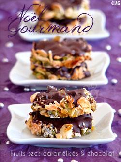 """Photo of Bouchées aux fruits secs """"caramélisés"""" & chocolat pour un Noël gourmand –"""