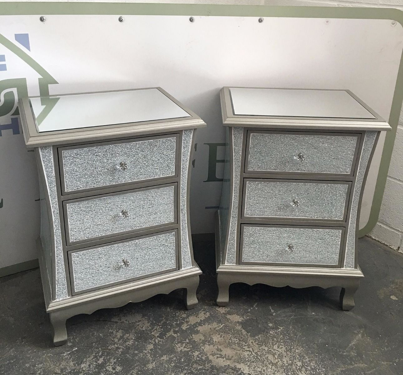 pair of silver crackle mosaic mirrored bedside tables