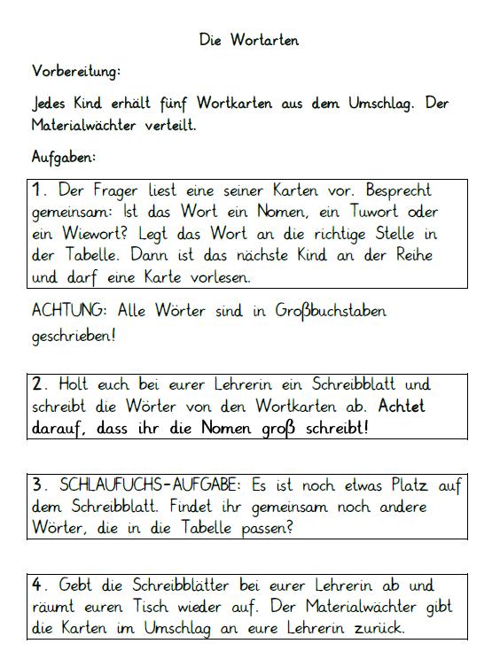 Arbeitsblätter für das kooperative Lernen im Fach Deutsch für Klasse ...