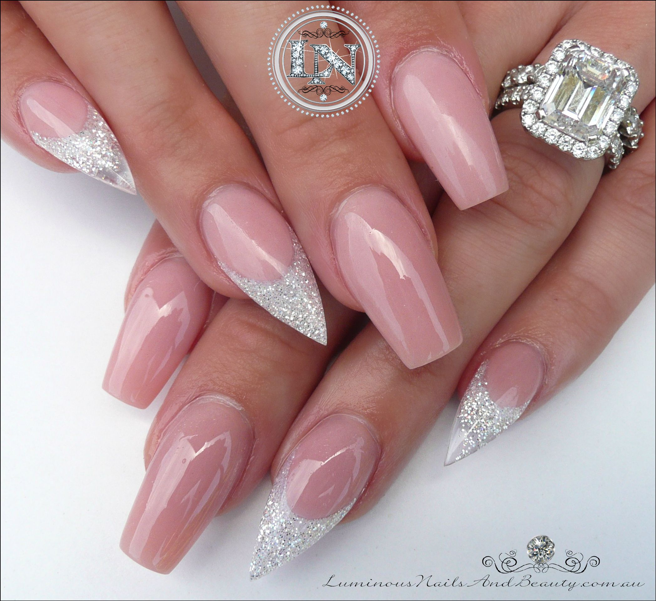 Stunning Nude Acrylic Nails with Glittery White Glitter. | nude ...