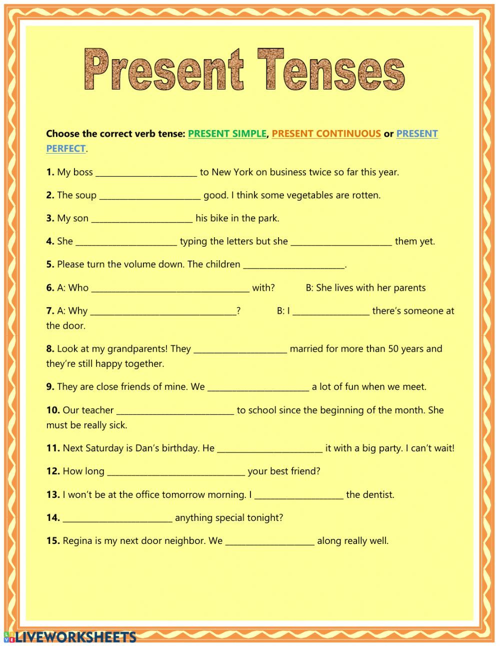 Present Tenses Interactive And Downloadable Worksheet You Can Do The Exercises Online Or Download The Worksheet As Pdf Tenses Present Tense Tenses Exercises [ 1291 x 1000 Pixel ]