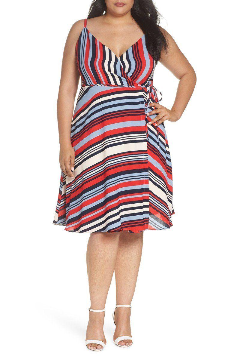 Cooper St Milan Stripe Wrap Dress Plus Size Nordstrom Slimming Summer Dresses Summer Dresses Dresses [ 1197 x 780 Pixel ]