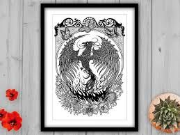 Hand Drawn Phoenix in Ink with Tropical Flowers. Giclee Art Print on Luxury Velvet Fine Art Paper in Monochrome.