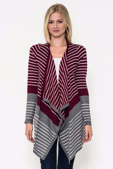 Just Takin It In Stripes Knit Sweater Cardi- Staccato-Burgundy - Debra's Passion Boutique - 1
