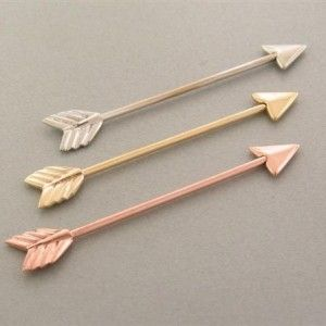 Rose Gold Arrow Industrial Piercing  Gimme gimme. I have a silver one just give me the other two!