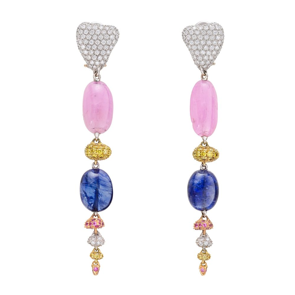 "Paul Morelli ""Pebble"" Multicolored Diamond & Sapphire Drop Earrings / ""Pebble"" drop earrings in 18k white gold, designed with a pavé white diamond top suspending a polished pink sapphire bead, yellow diamond-set bead, and polished blue sapphire bead, to three smaller beads set with pink sapphires, white diamonds and yellow diamonds 23,500"