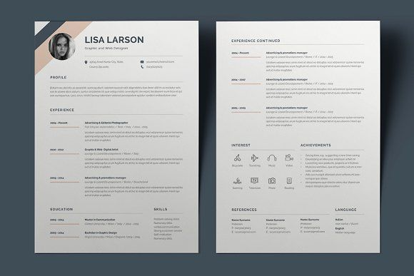Resume Lisa Pinterest Template and Fonts