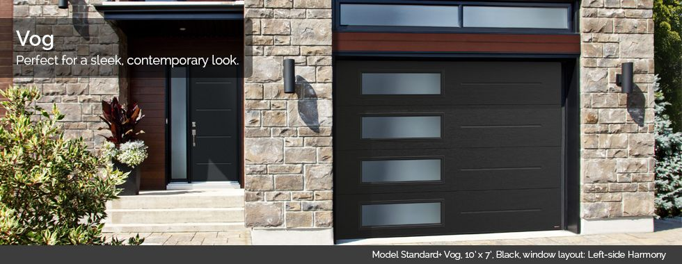 Garaga Garage Doors Model Standard Vog 10 X 7 Black Window Layout Left Side Harmony Contemporary Garage Doors Modern Garage Doors Garage Doors