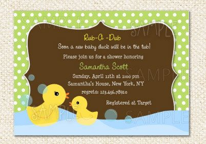 Rubber Duck Baby Shower invitations Shower invitations Ducky duck