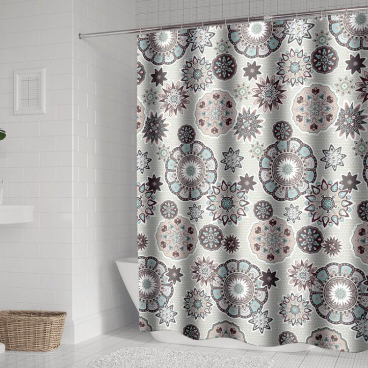 Boho Style Shower Curtain Polyester Fabric Waterproof Shower