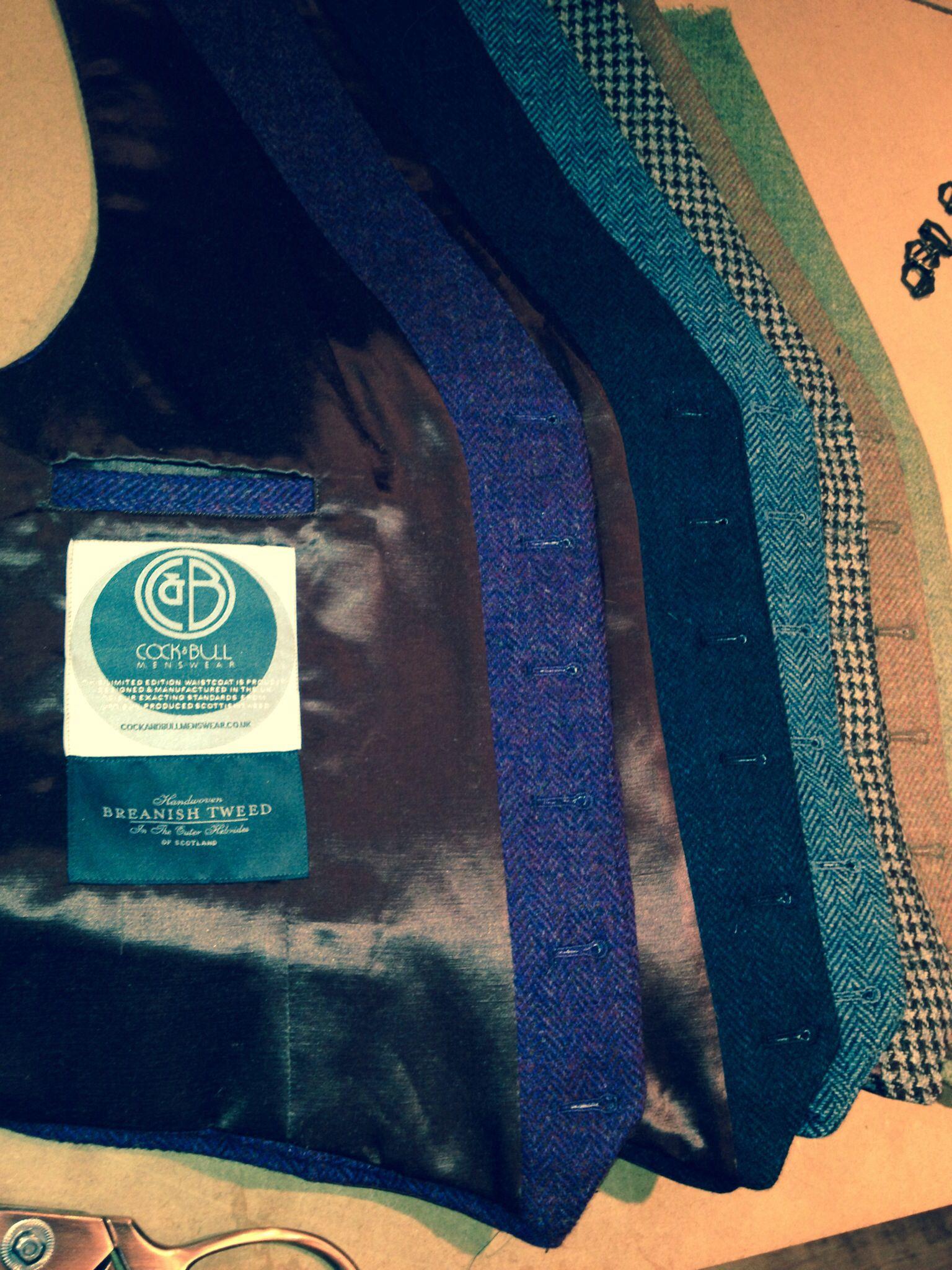 Hand-woven Scottish Tweed waistcoats