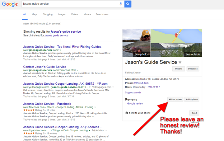 Just wanted to thank you for all your support over the years!   If you have fished with Jason's Guide Service please take a few seconds to click this link and leave an honest review on my Google Plus page! (see picture for directions)   https://www.google.com/search?q=jasons%20guide%20service&rct=j#q=jasonsguideservice