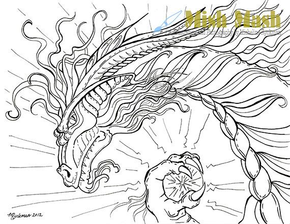Dragon Coloring Pages For Adults #2 | Arte terapia imatges per a ...