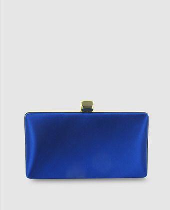87ea55871 Clutch básico de raso en azul con boquilla | Bolsos fiesta clutches ...